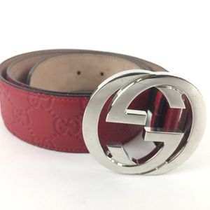 Gucci 411924 Signature Leather Belt Size 34